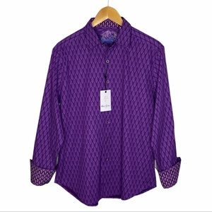 Robert Graham Becker Button Down Purple Shirt NEW